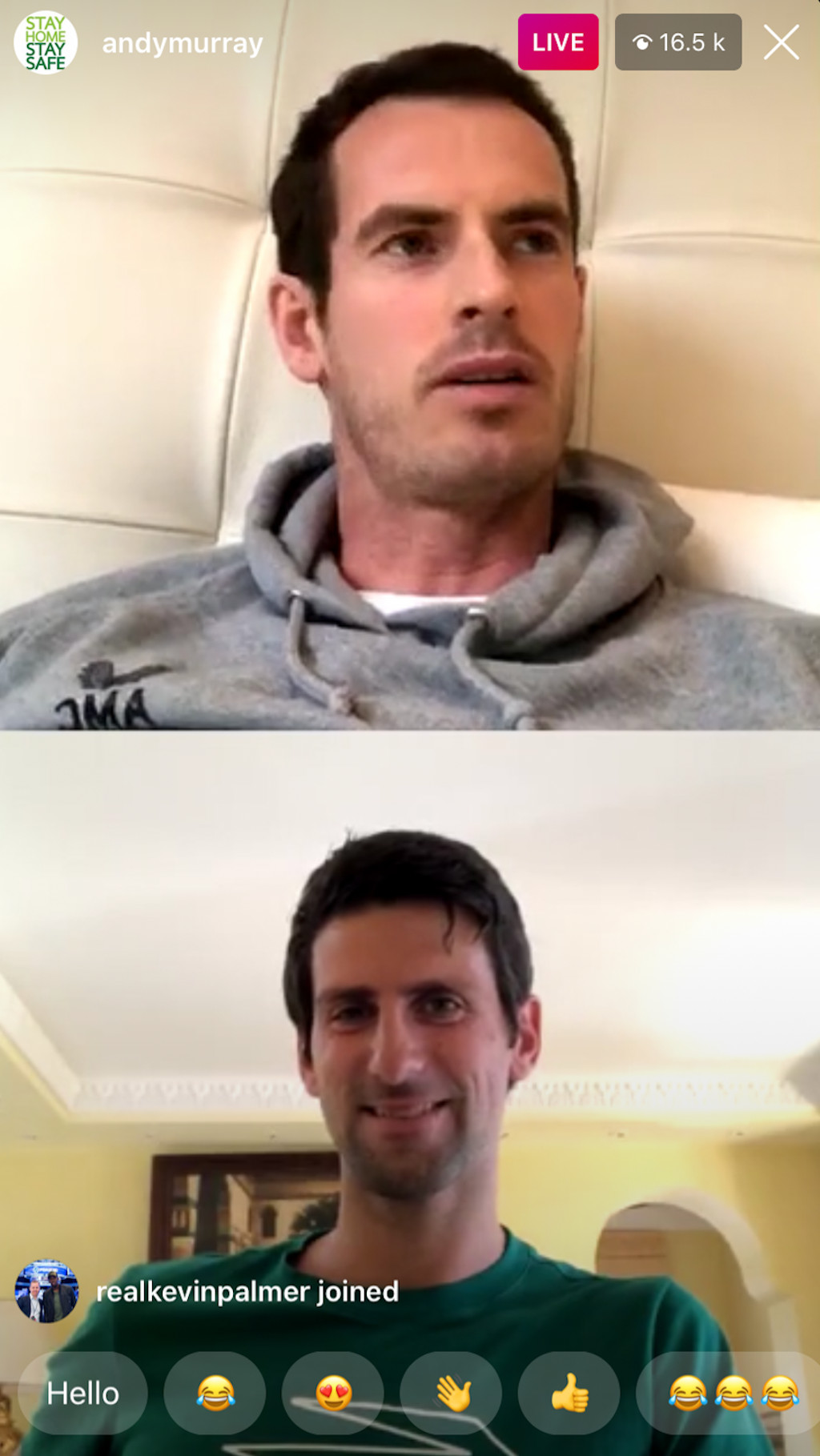 Andy Murray et Novak Djokovic Live Instagram Chat