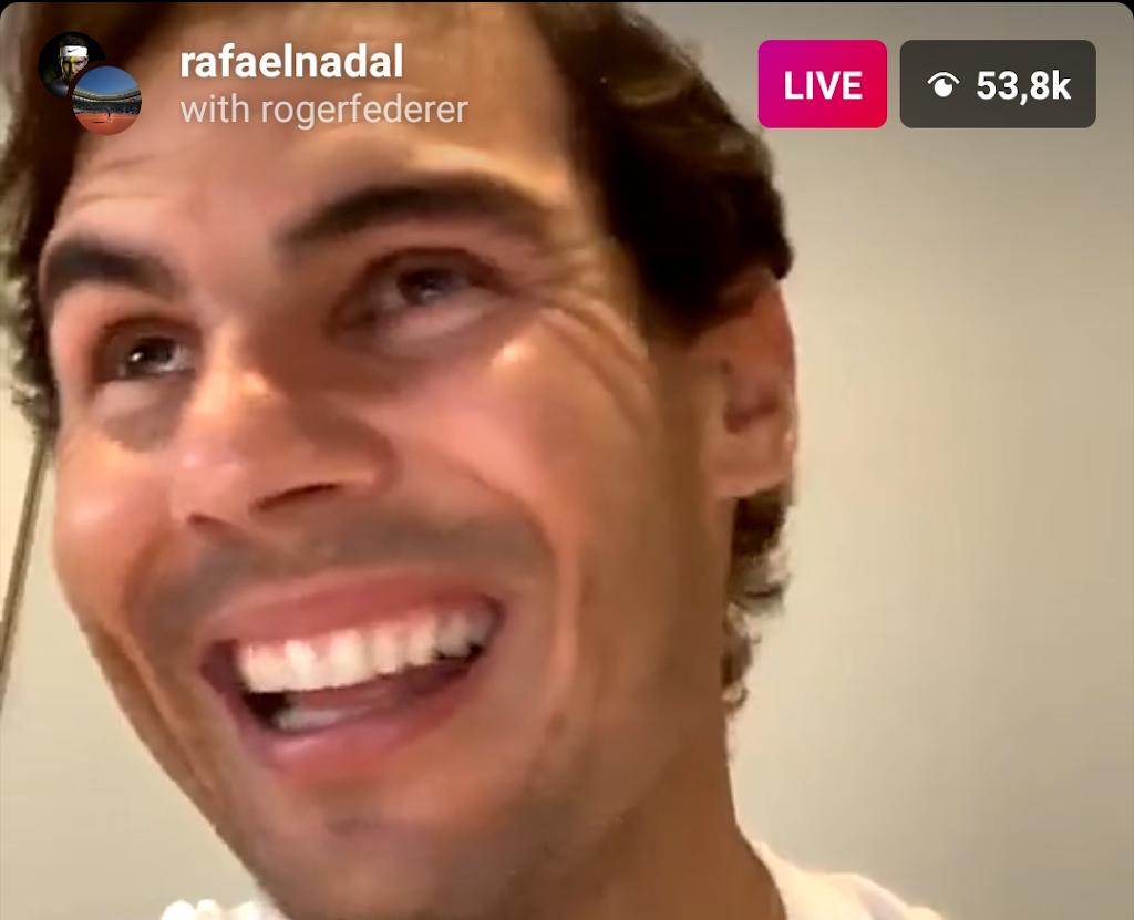 Rafael Nadal en train de rire sur Instagram Live