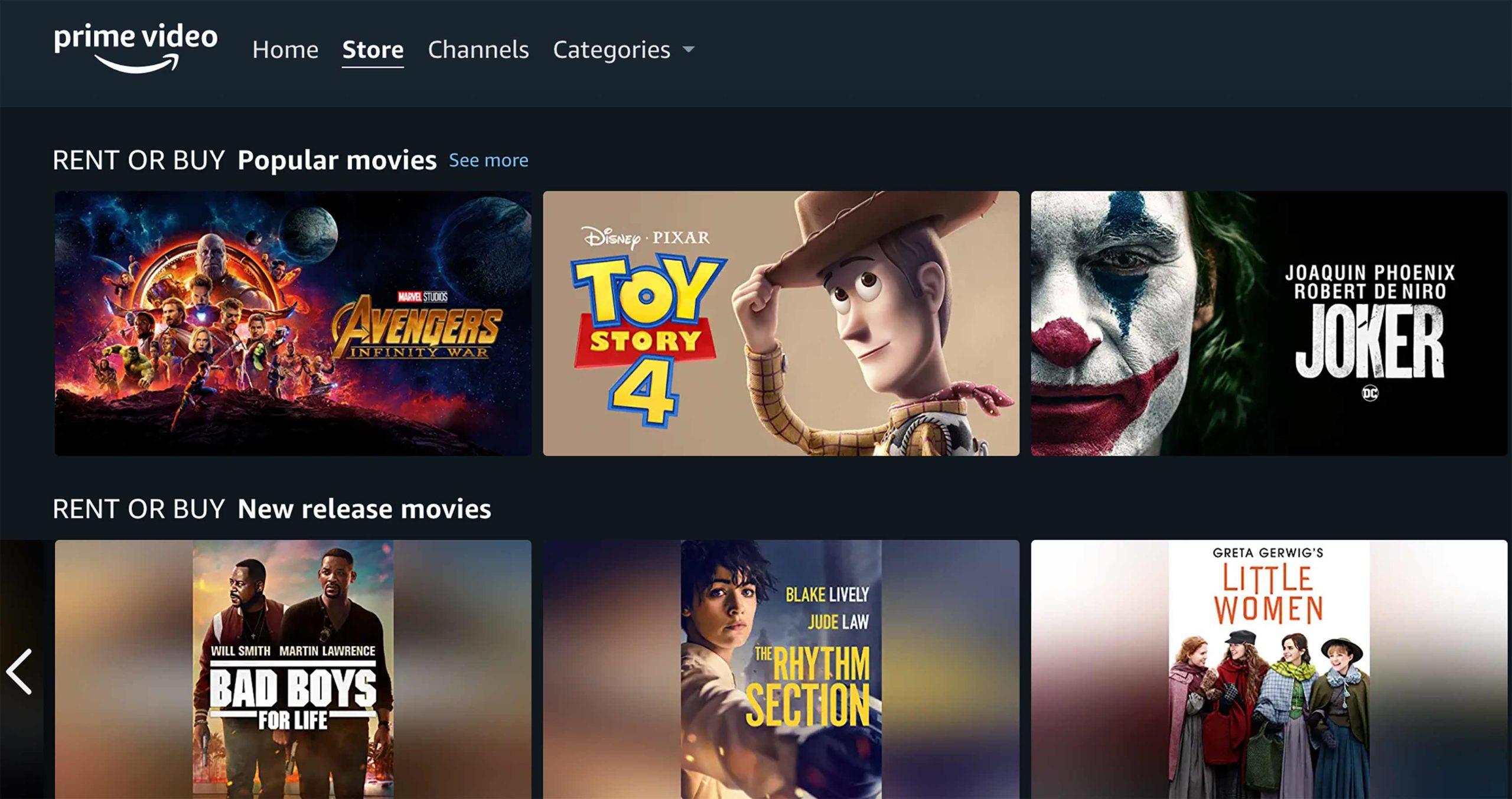 Magasin de vidéos Amazon Prime